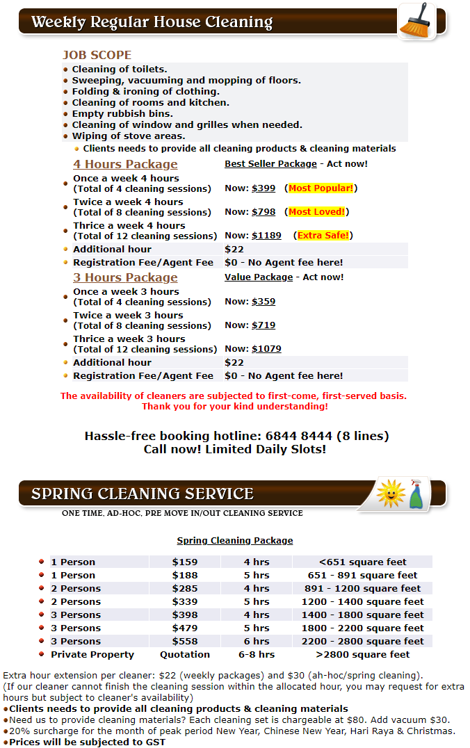House Cleaning & Spring Cleaning Rates in Singapore