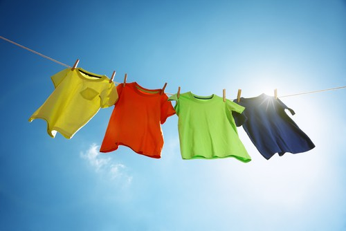 Drying laundry in the sun